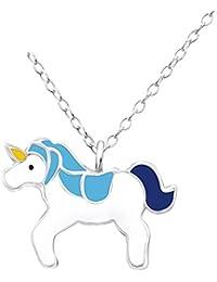 Laimons Kids Colgante con collar para niña Unicornio Azul, Amarillo, Blanco Plata de ley 925