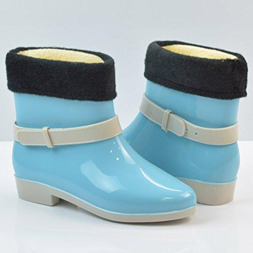 LvRao Damen Wasserdichte Nette Schnee Regen Schuhe Niedrige Knöchel Gummistiefel Kurze Regenstiefel Blau mitGefütterte