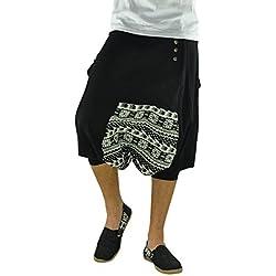 virblatt Pantalones cagados Cortos para Hombres 100% algodón con Patrones étnicos en Talla única con 2 Bolsillos Laterales, S - XL Ropa Hippie - Sorgenfrei LXL