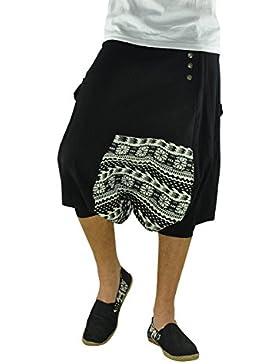 virblatt pantalones cagados cortos para hombres 100 % algodón con patrones étnicos en talla única con 2 bolsillos...