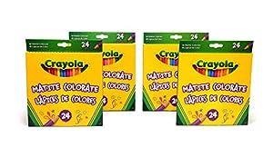 CRAYOLA 7471 - 4 Paquetes de 24 lápices de Colores para Escuela y Tiempo Libre