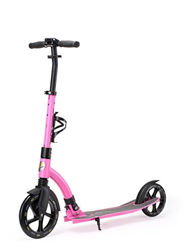 STAR-SCOOTER® Original Premium Pro Sport 230mm Big Wheel Alu City Tretroller Kickscooter klappbar mit Ständer sowie Trageriemen und Bremse für Erwachsene aber auch Kinder ab ca. 8 - 9 Jahre ★ Ultimate Edition ★ Pink Rosa