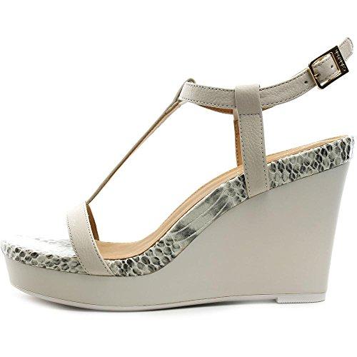 Calvin Klein Jiselle Femmes Cuir Sandales Compensés Soft White