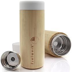 freiwerk® Termo para té e infusiones con colador, Doble Pared de Cristal, Libre de BPA, Tapa de Neopreno, Color Negro, bambú, 350 ML