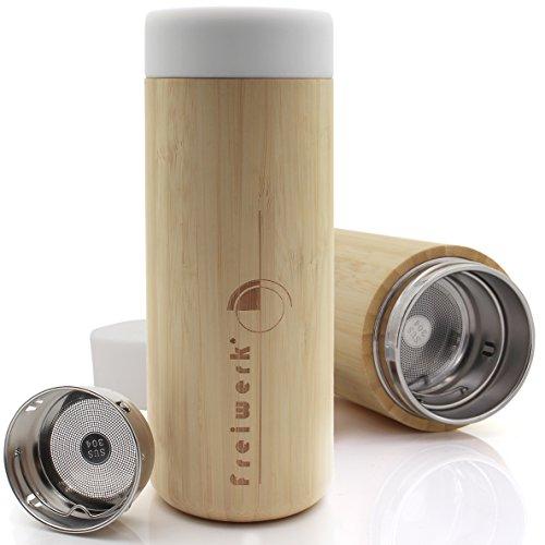 freiwerk® Thermoflasche Isolierflasche Thermobecher Sieb Edelstahl Doppelwandig Silikon Thermo to Go Bambus 350ml