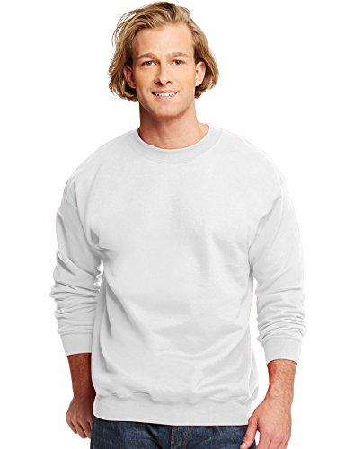 Hanes HanesApparel Men's Ultimate Fleece Crewneck Sweatshirt, White, Small Poly Crewneck Fleece Sweatshirt