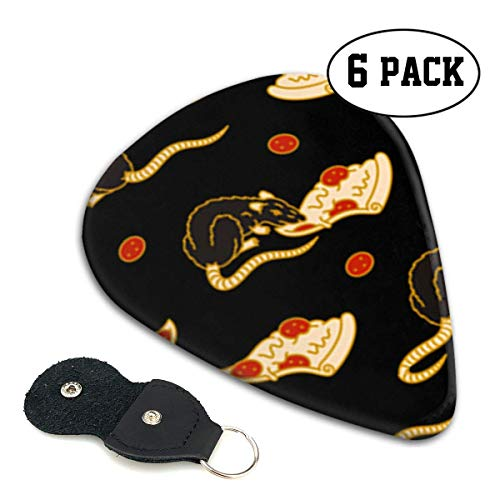 Pizza Rat Bonanza Celluloid Guitar Picks Premium Picks 6 Pack for Guitar,Mandolin,and Bass 0.46mm, 0.71mm, 0.96mm Optional with PU Leather Pick Holder(0.46mm)