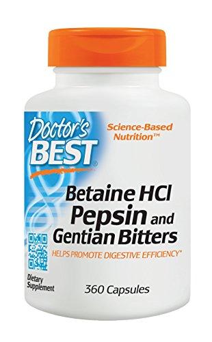 Doctor's Best, Betain HCI mit Pepsin und bitterer Enzian, Vollspektrum Verdauungsenzyme, gentechnikfrei, 650mg, 360 Kapseln (Mg Kapseln 650 100)