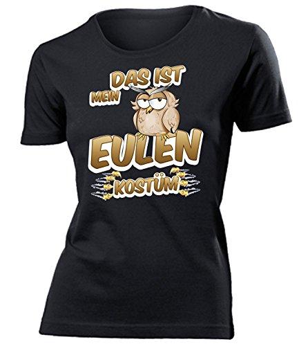 Eulen Kostüm Kleidung 1920 Damen T-Shirt Frauen Karneval Fasching Faschingskostüm Karnevalskostüm Paarkostüm Gruppenkostüm Schwarz XL (Kleidung 1920)