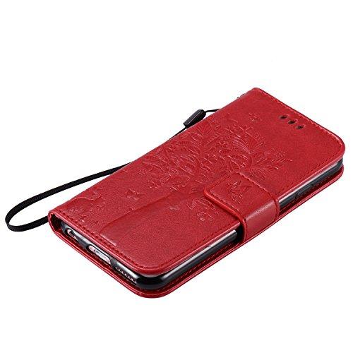 Etsue Brieftasche Hülle für iPhone 7 4.7 Zoll [Schmetterling Baum Katze] Flip Case Lederhülle Ledertasche Handyhülle im Bookstyle, Lanyard Strap Retro Elegant Wallet Cover Prägung Schutz Hülle Etui Sc Katzen Schmetterlinge Baum,Rot