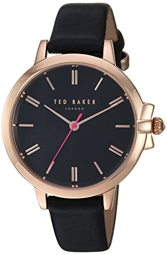 Ted Baker Women's 'RUTH' Quartz Stainless Steel and Leather Casual Watch, Color:Black (Model: TE50267007)