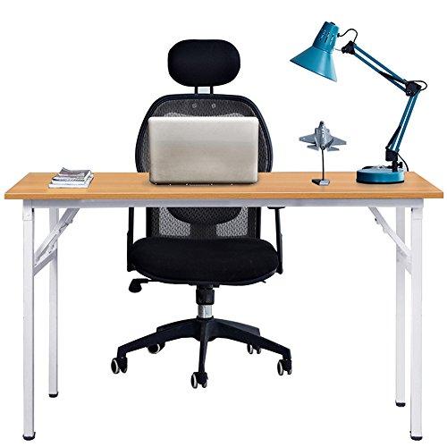 DlandHome 100 * 60cm Schreibtisch Computertisch Klapptisch Arbeitsstation Tischstudie Workstation-Gaming Teak & weiß