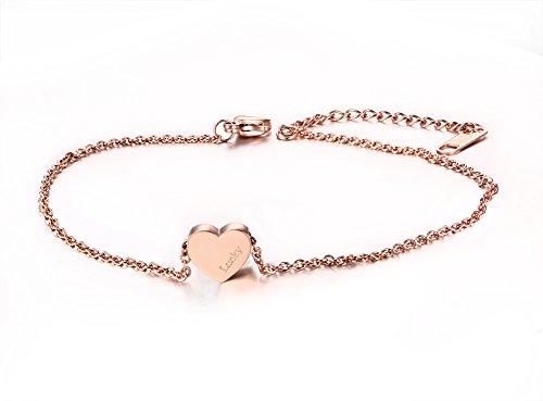 Vnox in acciaio INOX a forma di cuore in oro rosa con ciondolo a forma di Lucky Cavigliera, delicato, con piede, da donna, per bambina