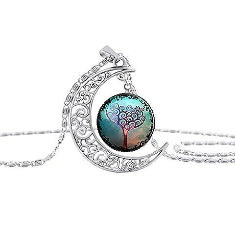 Contever® Unique Design Charm Choker Pendant Moon Tree Chain Necklace - A fairy Series