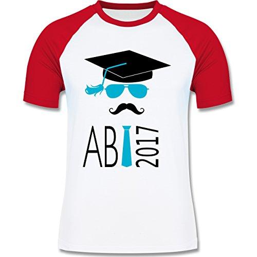 Abi & Abschluss - Hipster Abi 2017 Mustache - zweifarbiges Baseballshirt für Männer Weiß/Rot