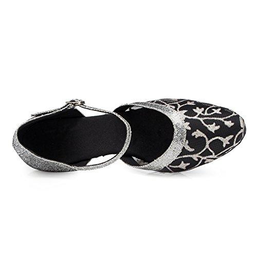 Minitoo Femme Maille amande Toe Chaussures de danse pour pompes Noir