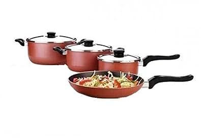 Premier Aluminium Non-Stick Cookware Set, 7 Pieces, Red and Black