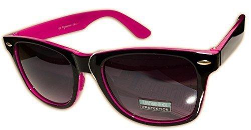 Occhiali da sole sunglasses uomo donna rettangolari bicolore nero rosa fucsia