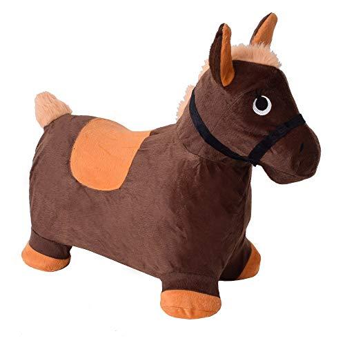 TE-Trend Hüpftier Hüpfpferd Gummipferd Hopser Plüschüberzug Kinderhüpfpferd Pferd Horse Baby Kinder 50kg Braun