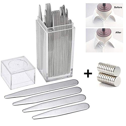 40 Metall Kragenstäbchen mit 20 Magnets, AOLVO Edelstahl Magnetisch Hemd Kragenstäbchen Collar...