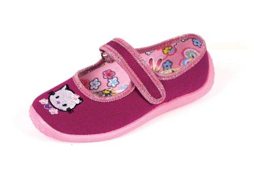 Nazo - Ballerine da bambina, in tela, motivo: Hello Kitty, colore: bordeaux, Rosso (Rojo - marrón), 41 1/3 EU