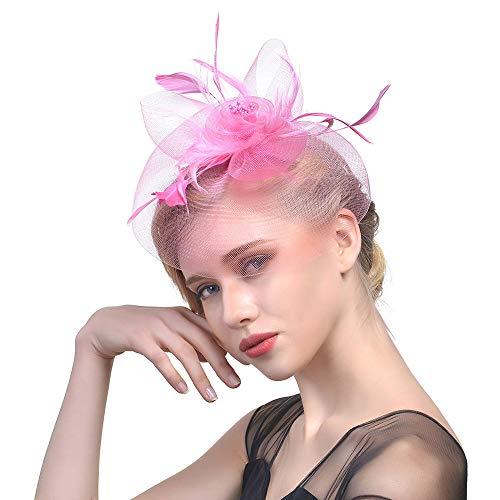 Fasching Kostüm Accessoires Damen Feder Fascinators Hut Blumen Netz Braut Kopfschmuck Haar Clip Hut Elegant Fascinator Haarreif für Hochzeit Cocktail Tee(Rosa)