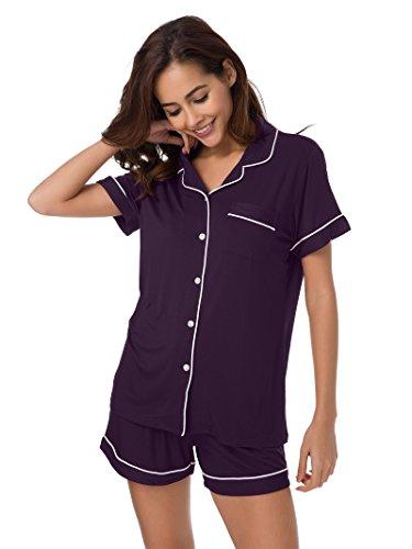 SIORO Pyjamas Womens Knit Nachtwäsche Plus Size Baggy Style Pyjama Set Damen Loungewear Soft Sleep mit Hosen Button Down Loungewear Nachthemd Lange Aubergine XL - Knit Womens Pyjamas