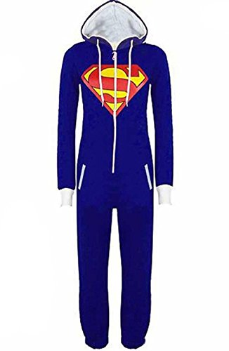 OMSLIFE Damen Herren Overall Jumpsuit Sleepsuit Superman & Batman mit Kapuze Pyjamas Kostüm Cosplay Homeware