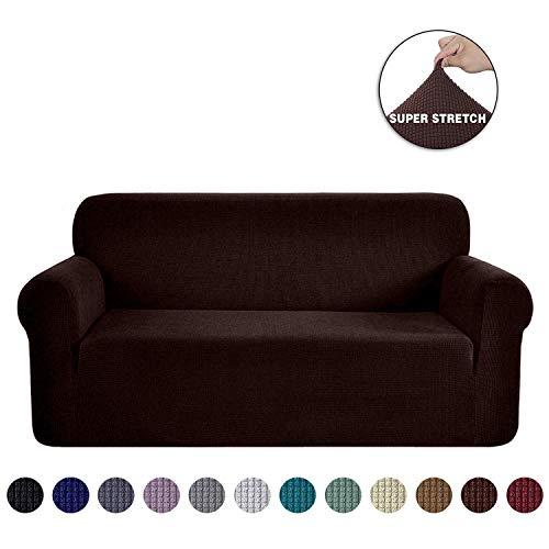 Ramotto copridivano, elastico jacquard fodere protector mobili coperture elasticizzato per cuscini divano in pelle per soggiorno, copridivano (marrone, 3 posti)
