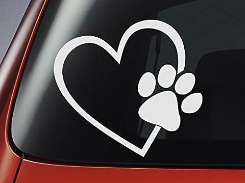 Aufkleber Herz mit Hundepfote, Weiß, Vinyl, für Fenster/Autos/Wände/Laptops