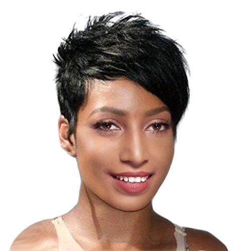 MagiDeal Frauen Mädchen Kurze Perücke 8 Zoll Damenperücke aus menschliche haar modische Natürliche Echthaar Perücke / Cosplay Wig Schwarz (Menschliche Haare Perücken)