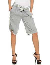 Mississhop Damen Capri 100% Leinen Bermuda lockere Kurze Hose Freizeithose  Shorts mit Gürtel und Knöpfen 05f0813463
