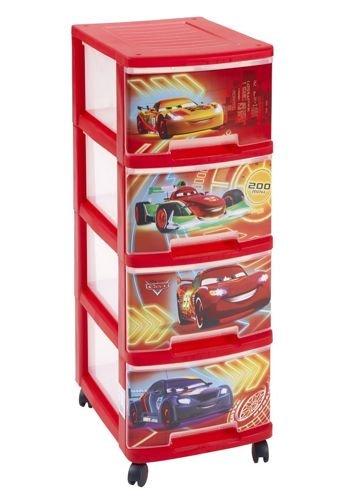 Aufbewahrungsregal Kinderregal Kinderkommode Spielzeugkiste Spielzeugaufbewahrungregal für Kinder CAR 4x10L