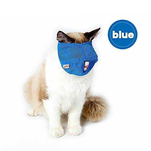 HYGMall 1PC Schnallen Aufregung Breathable Mesh Cat Maulkörbe Anti Kratzen Katze Reisen Werkzeug Reisen Bad Schönheit liefert mit Katze Badetasche Cat Badetasche (L, Blau)