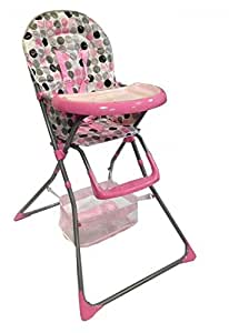 BABY ZONE NEW FOLDABLE MULTIFUNCTIONAL PINK BABY HIGHCHAIR WITH 2 FREE BIBS