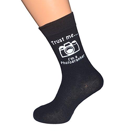 Trust me I'm a Photographer with Camera Image Mens Black Novelty Socks UK Mens Size 5-12 X6N233