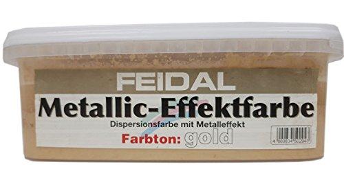 Feidal Metallic -Effektfarbe Dispersionsfarbe mit Metalleffekt Farbwahl 2,5 Liter, Farbe:Gold
