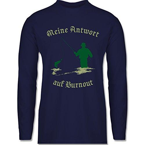 Angeln - Meine Antwort auf Burnout - Longsleeve / langärmeliges T-Shirt für Herren Navy Blau