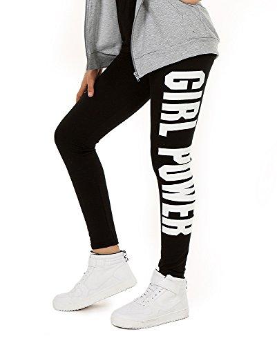 AlexFashion Baumwolle Sport Leggings für Mädchen Girl Power Boyfriendhose Hose Legings Jogging Gr. 116-158 (152, Schwarz) -