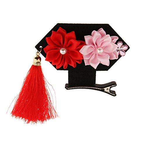 MagiDeal Baby Mädchen Haarspange Blumen Stil mit Quaste Alligator Clips Haarspangen Haarnadel - Rot1