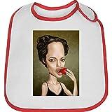 Bavoir bebe rouge caricature de angelina joli 1
