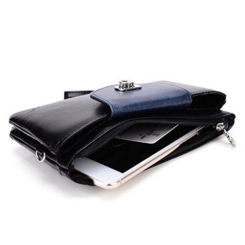 Kroo Pochette Portefeuille en Cuir de Femme avec Bracelet Cuir pour Motorola Nexus 6 Rose - Magenta and Blue noir - Black and Blue