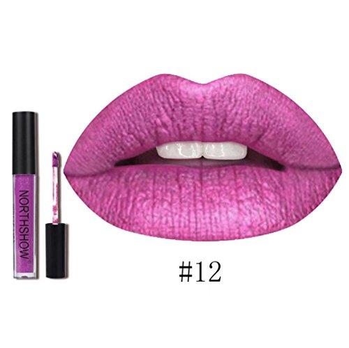 Rouge à Lèvres, Tefamore Nouveau Rouge à Lèvres Longue Durée Imperméable à L'Eau Mat Liquide Lip Gloss Lip Liner cosmétiques (12#)