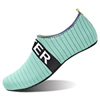 OROTER Summer Water Shoes for Women Quick-Dry Aqua Socks Men Barefoot Beach Swim Surf Exercise Green 40-41