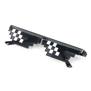 Cuigu Thug Life Brille / Deal mit ihm Brille / Pixelbrille, Schwarz Mosaik Sonnenbrille für Frauen und Männer