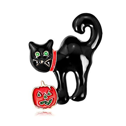 Meigold Halloween Brosche Kürbis Katze Brosche Kleidung Zubehör Männer Frauen Brosche Corsage Anstecknadeln Legierung Size 3.9 * 2.9cm (Mann Katze Halloween)