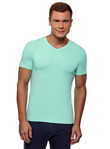 oodji Ultra Herren Tagless T-Shirt Basic mit V-Ausschnitt, Türkis, S