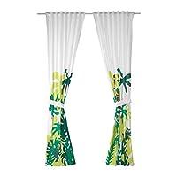 DJUNGELSKOG Curtains with tie-backs, 1 pair, monkey, green
