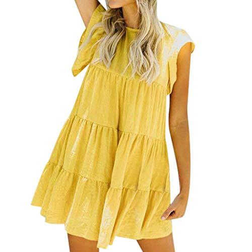 UINGKID Sommerkleid Damen Kleid Tshirt Retro Elegant Kurzarm Minikleid Kleider Frauen Sexy Casual Rüschen Mini Abend Party YE/M