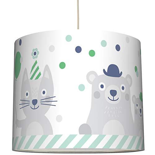 Anna Wand Hängelampe Best Friends GRÜN - Lampenschirm für Kinder/Baby Lampe mit Hase/Hund und Bär - Sanftes Kinderzimmer Licht Mädchen & Junge - ø 40 x 34 cm (Hase Lampenschirm)